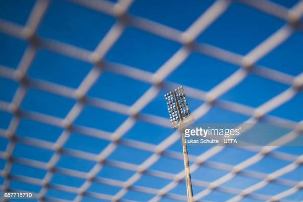 The lights of the stadium are seen trough the goal net prior to the FIFA 2018 World Cup Qualifier between Luxembourg and France at Stade Josy Barthel...