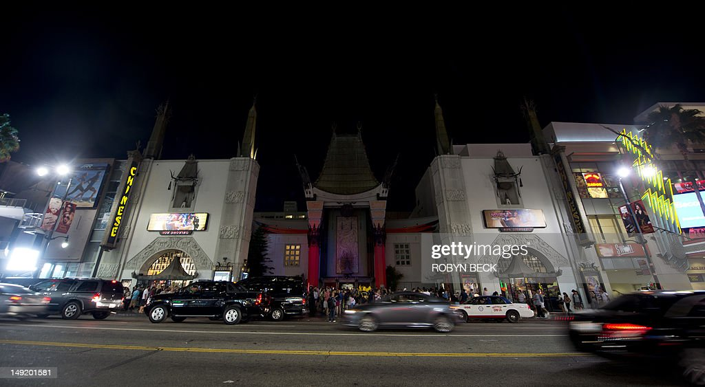 The lights on the facade and forecourt of Grauman's Chinese Theatre are darkened for 60 seconds in response to the Aurora Colorado movie theatre...