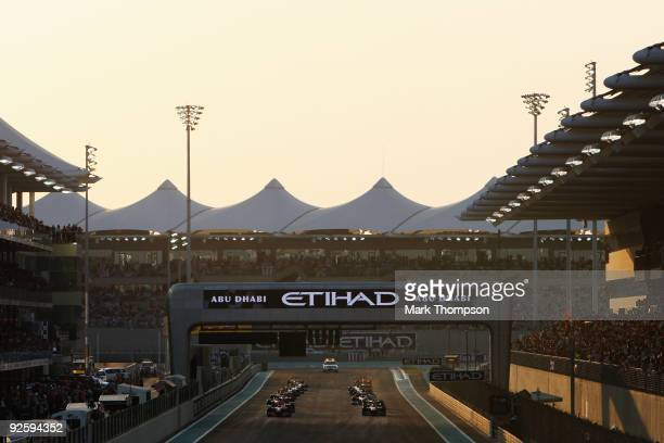 The lights prepare to go out at the start of the first Abu Dhabi Formula One Grand Prix at the Yas Marina Circuit on November 1 2009 in Abu Dhabi...