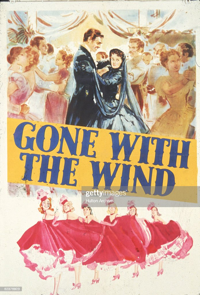 The likenesses of American actor Clark Gable as Rhett Butler and British actress Vivien Leigh as Scarlett O'Hara appear in this promotional poster...