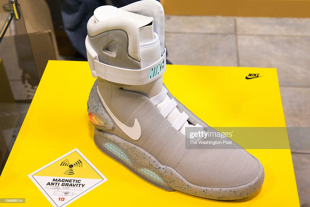 The Limited Edition 2011 NIKE MAG shoes are available for $5,000 at Kickk Spott in Washington, D.C. on December 28, 2012. The shoes are a replica from the movie Back to the Future Part 2, worn the character Marty McFly by Actor Michael J. Fox. Kickk Spott is the only ultra-high end sneaker shop in the area, and the only one that does consignment as well.