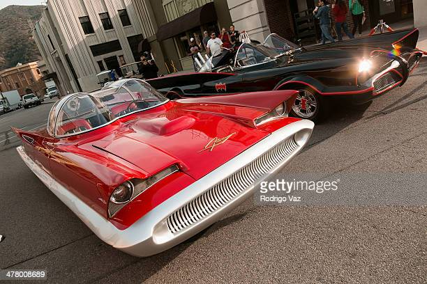 The Lincoln Futura and Batmobile originally owned by George Barris at the Warner Bros VIP Tour 'Meet The Family' Speaker Series Cars For Movie/TV at...