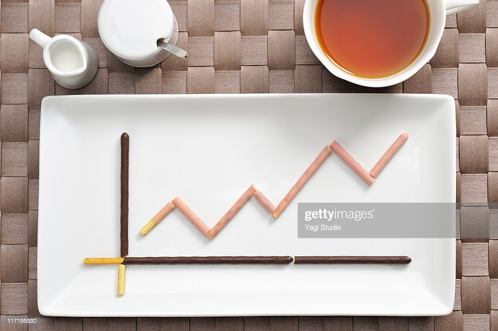 The line graph made from the sweets of the chocola : Stock Photo