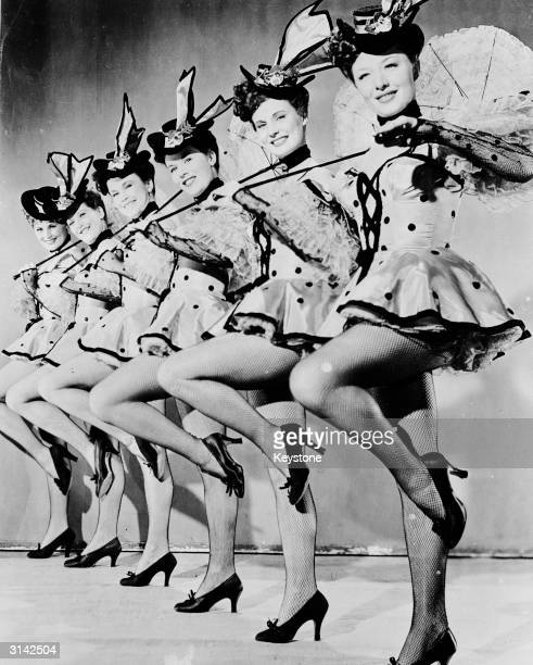 The line of 'Chorines' who appear in the musical 'Nob Hill' during the San Francisco Bay' number