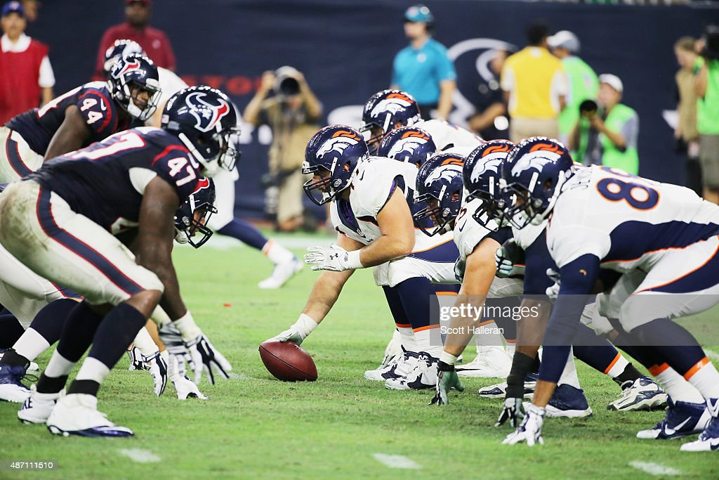 The line of scrimmage is seen during the game between the Denver Broncos and the Houston Texans at NRG Stadium on August 22, 2015 in Houston, Texas.