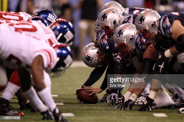 The line of scrimmage is seen in the third quarter in the game between the New York Giants and the New England Patriots during Super Bowl XLVI at...