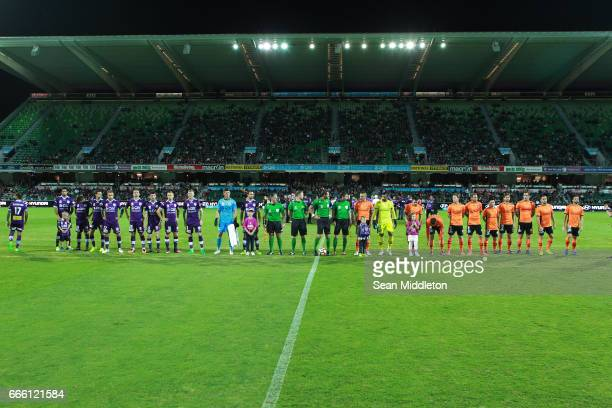 The line up during the round 26 ALeague match between the Perth Glory and Brisbane Roar at nib Stadium on April 8 2017 in Perth Australia