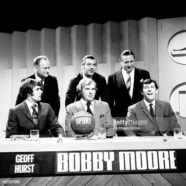 The line up for an edition of Question of Sport Tom Finney Johnny Haynes Stan Mortensen Geoff Hurst Bobby Moore Alan Mullery