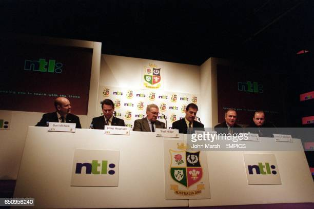 The line up for the British Lions press conference where NTL were announced as sponsors of the 2001 tour of Australia NTL Brand Director Bart Michels...