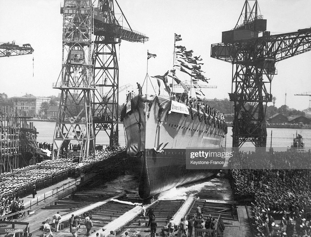 The Liner Admiral Graf Spee Leaving Its Dry Dock At The Wilhelmhaven Shipyards In LowerSaxony During A Formal Ceremony On June 30 1934 It Was The...