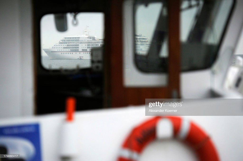 The liner MS Europa sits close to the List harbour on the island of Sylt on July 19, 2013 in List, Germany. The vessel invited German celebrities for a party this evening and will continue its journey toward Copenhagen after a 24-hour stop off the coast of List.