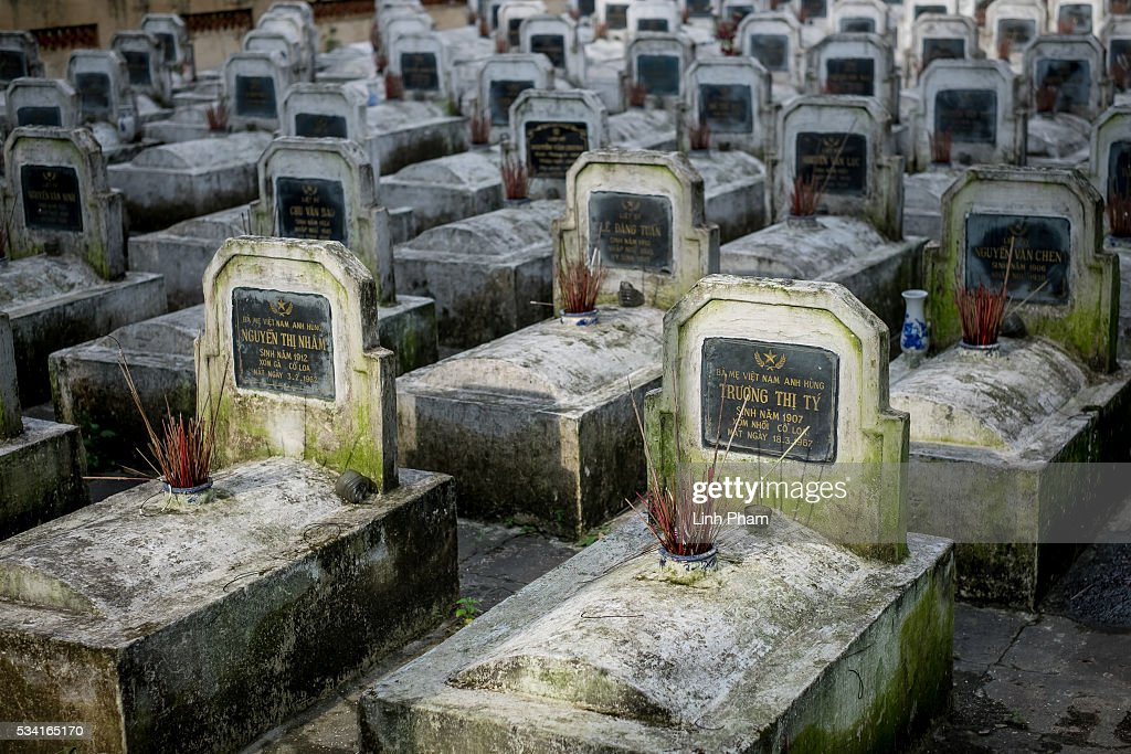 The lines of headstones at Co Loa Martyrs Cemetery on May 25, 2016 in Hanoi, Vietnam. U.S. President Obama made his historic visit to Vietnam on May 23 with an aim to strengthen the strategic and economic relationship between both countries four decades after the Vietnam war. During the visit, Obama announced the U.S. will fully lift its embargo on weapons and raised issues related to human rights while speaking to the youths on freedom of expression.