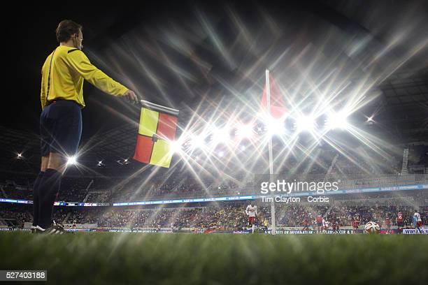 The linesman signals for a corner at Red Bull Arena during the New York Red Bulls Vs Chicago Fire Major League Soccer regular season match won 54 by...