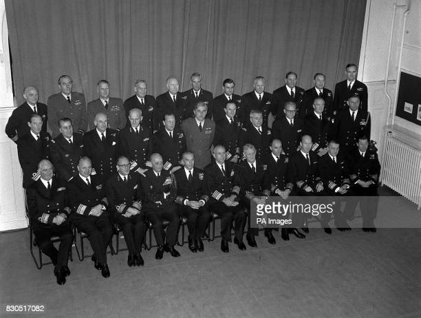 The lineup of NATO Flag Officers attending a 1965 Symposium at the Royal Naval Tactical School in Woolwich London World War II pilot Air ViceMarshal...