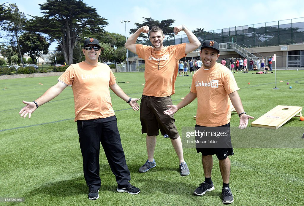 The Linked in team pose at the Founder Institute's Silicon Valley Sports League on July 13, 2013 in San Francisco, California.