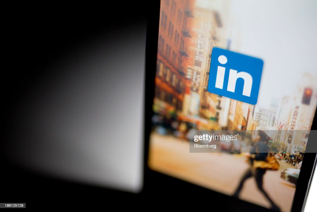 The LinkedIn Corp. application is displayed on an Apple Inc. iPhone arranged for a photograph in Washington, D.C., U.S., on Monday, Oct. 28, 2013. LinkedIn Corp. is expected to release earnings figures on Oct. 29. Photographer: Andrew Harrer/Bloomberg via Getty Images