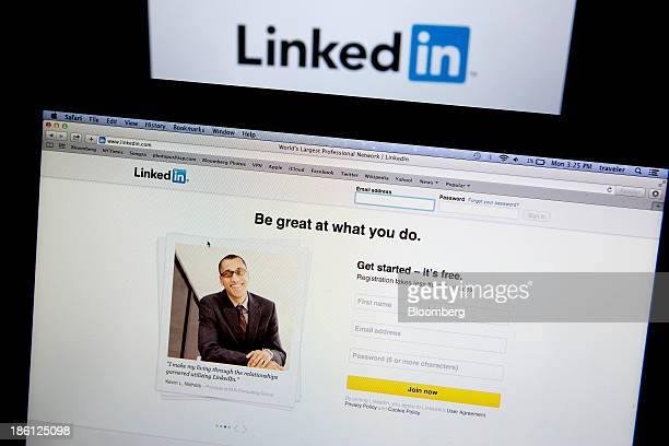 The LinkedIn Corp homepage and logo are displayed on laptop computers arranged for a photograph in Washington DC US on Monday Oct 28 2013 LinkedIn...