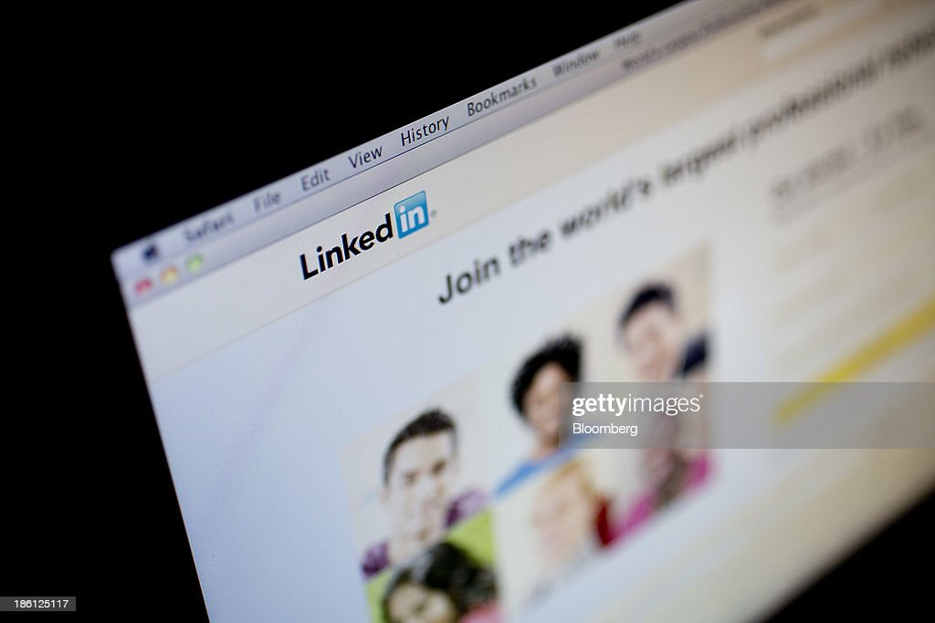 The LinkedIn Corp. homepage is displayed on a laptop computer arranged for a photograph in Washington, D.C., U.S., on Monday, Oct. 28, 2013. LinkedIn Corp. is expected to release earnings figures on Oct. 29. Photographer: Andrew Harrer/Bloomberg via Getty Images