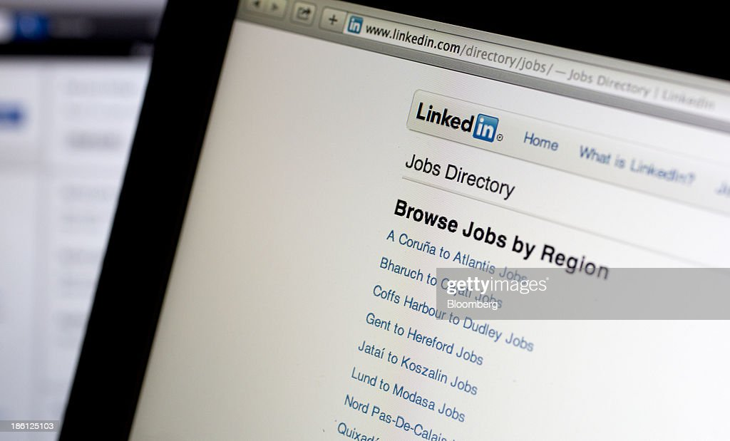 The LinkedIn Corp. jobs directory is displayed on a laptop computer arranged for a photograph in Washington, D.C., U.S., on Monday, Oct. 28, 2013. LinkedIn Corp. is expected to release earnings figures on Oct. 29. Photographer: Andrew Harrer/Bloomberg via Getty Images