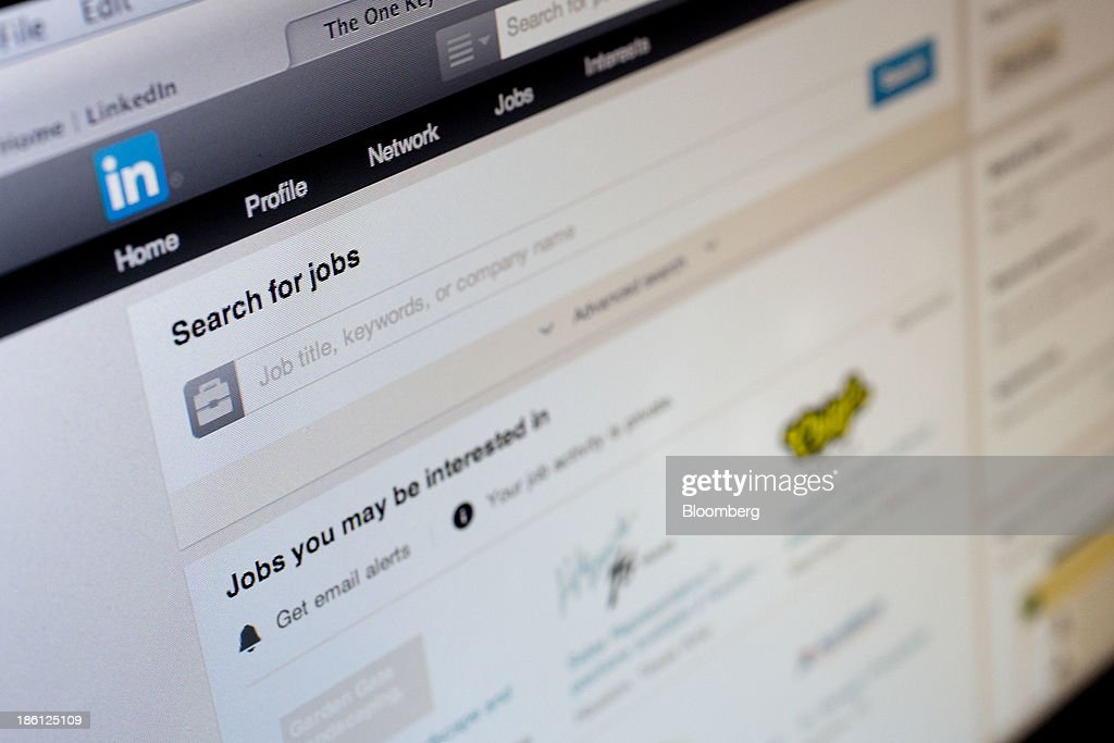 The LinkedIn Corp. jobs page is displayed on a laptop computer arranged for a photograph in Washington, D.C., U.S., on Monday, Oct. 28, 2013. LinkedIn Corp. is expected to release earnings figures on Oct. 29. Photographer: Andrew Harrer/Bloomberg via Getty Images