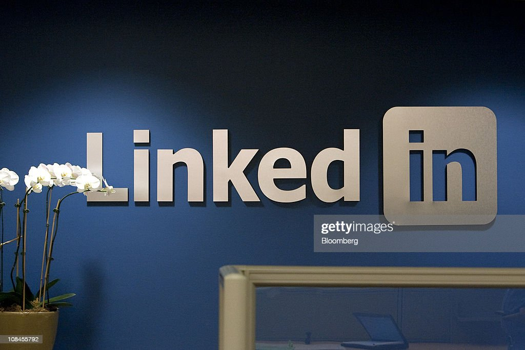 The LinkedIn Corp. logo is displayed on the wall inside the reception area at company headquarters in Mountain View, California, U.S., on Thursday, Jan. 27, 2011. LinkedIn Corp., the largest networking website for professionals, said it plans to raise as much as $175 million in an initial public offering. Photographer: David Paul Morris/Bloomberg via Getty Images