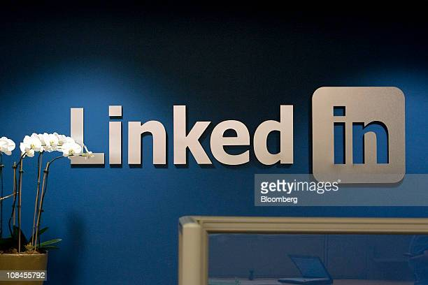 The LinkedIn Corp logo is displayed on the wall inside the reception area at company headquarters in Mountain View California US on Thursday Jan 27...