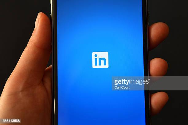 The LinkedIn logo is displayed on an iPhone on August 3 2016 in London England
