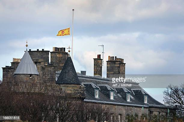 The Lion Rampant flag flies at half mast over Holyrood Palace on April 8 2013 in EdinburghScotland It has been confirmed that Lady Thatcher has died...