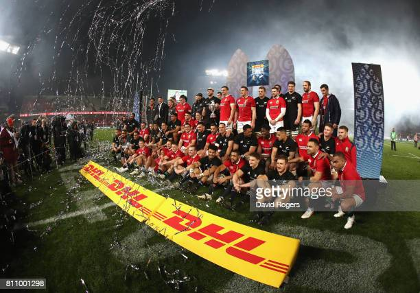 The Lions and the All Blacks pose for a combined group photogrpah after their sides draw the final test 1515 and tie the series during the Test match...