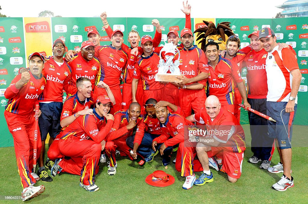 The Lions celebrate after the 2013 RAM Slam T20 Challenge Final between Bizhub Highveld Lions and Nashua Titans at Bidvets Wanderers Stadium on April 07, 2013 in Johannesburg, South Africa.
