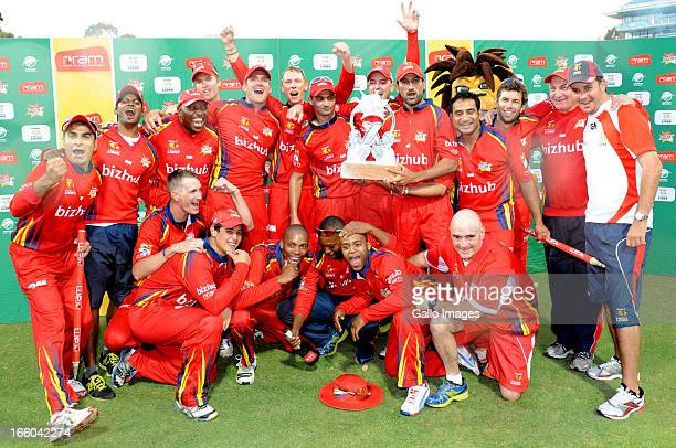 The Lions celebrate after the 2013 RAM Slam T20 Challenge Final between Bizhub Highveld Lions and Nashua Titans at Bidvets Wanderers Stadium on April...