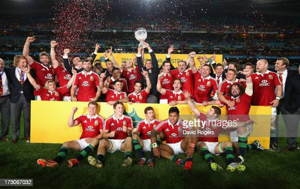 The Lions celebrate their victory during the International Test match between the Australian Wallabies and British Irish Lions at ANZ Stadium on July...