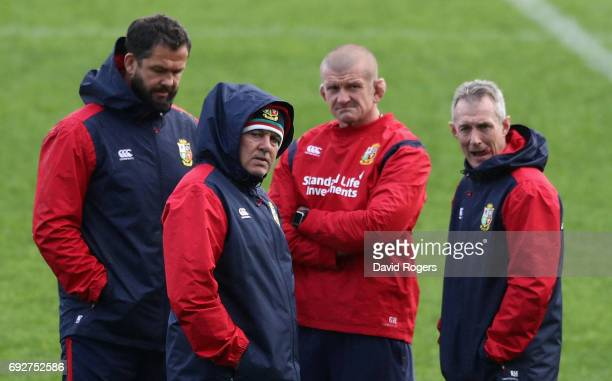 The Lions coach teaming of Andy Farrell defence coach Warren Gatland head coach Graham Rowntree scrum coach and Rob Howley backs coach look on during...