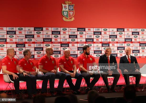 The Lions coaching and management team of Graham Rowntree Rob Howley Steve Borthwick Neil Jenkins Andy Farrell Warren Gatland and John Spencer speak...