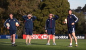 The Lions coaching team of Rob Howley the Lions backs coach Warren Gatland the head coach Graham Rowntree the forwards coach and Andy Farrell the...