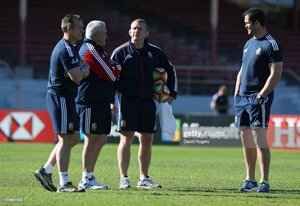 The Lions coaching team Rob Howley, backs coach, Warren Gatland, the Lions head coach, Graham Rowntree, forward coach and defence coach Andy Farrell look on during the British and Irish Lions Captain's Run at North Sydney Oval on July 5, 2013 in Sydney, Australia.
