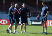 The Lions coaching team Rob Howley backs coach Warren Gatland the Lions head coach Graham Rowntree forward coach and defence coach Andy Farrell look...