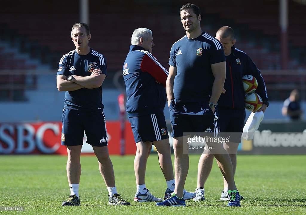 The Lions coaching team Rob Howley, backs coach, Warren Gatland, the Lions head coach, Andy Farrell, the Lions defence coach and forwards coach Graham Rowntree look on during the British and Irish Lions Captain's Run at North Sydney Oval on July 5, 2013 in Sydney, Australia.