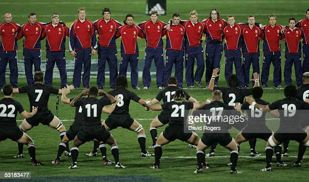 The Lions face the challenge of the All Black Haka during the second test match between The New Zealand All Blacks and the British and Irish Lions at...
