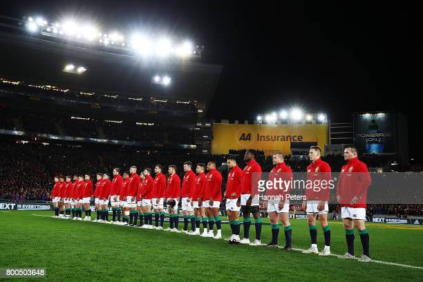 The Lions face the haka ahead of the Test match between the New Zealand All Blacks and the British Irish Lions at Eden Park on June 24 2017 in...