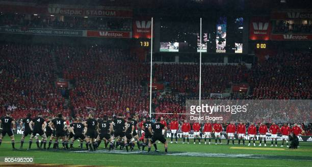 The Lions faces the All Black Haka during the match between the New Zealand All Blacks and the British Irish Lions at Westpac Stadium on July 1 2017...