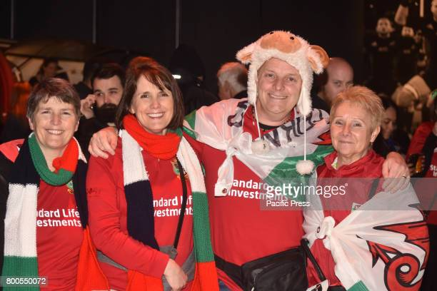 The Lions fans pose for camera at waterfront fanzone prior the first test match between the New Zealand All Blacks and the British and Irish Lions at...