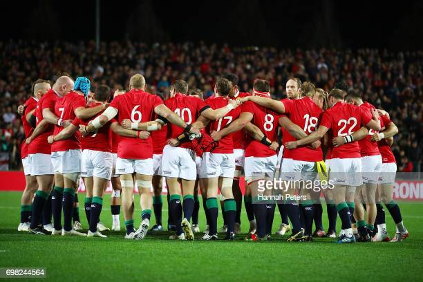 The Lions gather during the match between the Chiefs and the British Irish Lions at Waikato Stadium on June 20 2017 in Hamilton New Zealand
