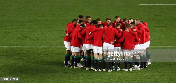 The Lions gather during the Test match between the New Zealand All Blacks and the British Irish Lions at Eden Park on June 24 2017 in Auckland New...