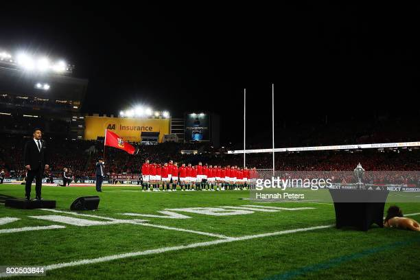 The Lions line up ahead of the Test match between the New Zealand All Blacks and the British Irish Lions at Eden Park on June 24 2017 in Auckland New...