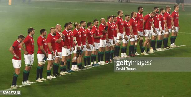 The Lions line up during the match between the Chiefs and the British Irish Lions at Waikato Stadium on June 20 2017 in Hamilton New Zealand
