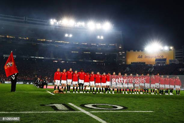 The Lions lineup ahead of the Test match between the New Zealand All Blacks and the British Irish Lions at Eden Park on July 8 2017 in Auckland New...