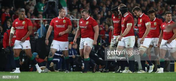 The Lions look dejected after their defeat during the Test match between the New Zealand All Blacks and the British Irish Lions at Eden Park on June...