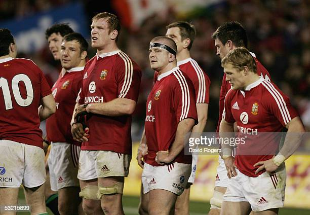 The Lions look disappointed after losing the third test match between The New Zealand All Blacks and the British and Irish Lions at Eden Park on July...