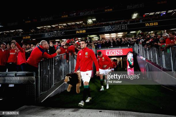 The Lions make their way out onto the pitch during the third Test match between the New Zealand All Blacks and the British Irish Lions at Eden Park...
